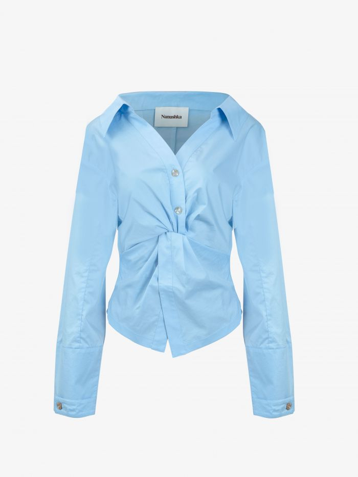 TWISTED FRONT SLOUCHY SHIRT