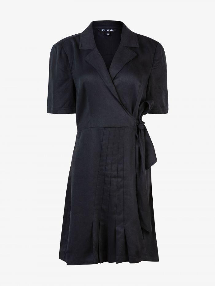 BETA PLEAT DETAIL WRAP DRESS
